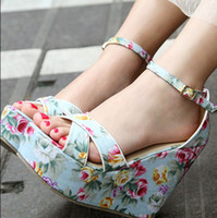 Women ankle strappy sandals - new sweet blue floral calico wedge heel sandals ankle strappy high platform sandals shoes with flower summer sandals
