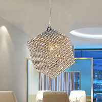 Modern 85-265V LED 40W 1 Light Square Modern Crystal Chandelier LED Pendant Lights Lamp Free Shipping