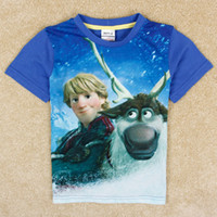 Wholesale frozen tops baby boy clothes cartoon charactors Kriscoff D printing cotton short sleeve t shirts nova kids clothing C5026Y