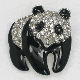Wholesale Clear Crystal Rhinestone Enameling Panda Pin Brooch Fashion jewelry gift C924