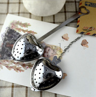 Wholesale Tea Infuser Tools With Heart Shaped Stainless Herbal Tea Infuser Spoon Filter Wedding Supplies Gift C1321