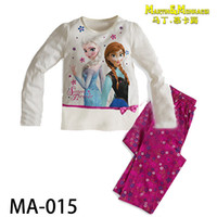 Girl Spring/Autumn 2-7T 2014 Frozen Clothing Sets Anna Elsa Princess Kids Pajama Set Snow Queen Girl Nightie Sister Forever Pyjamas P01