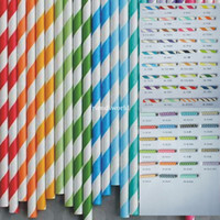 Wholesale Via Fedex EMS Stripe Paper Drinking Straws Polka Dot Chevron Star For Party Decoration mixed Colors