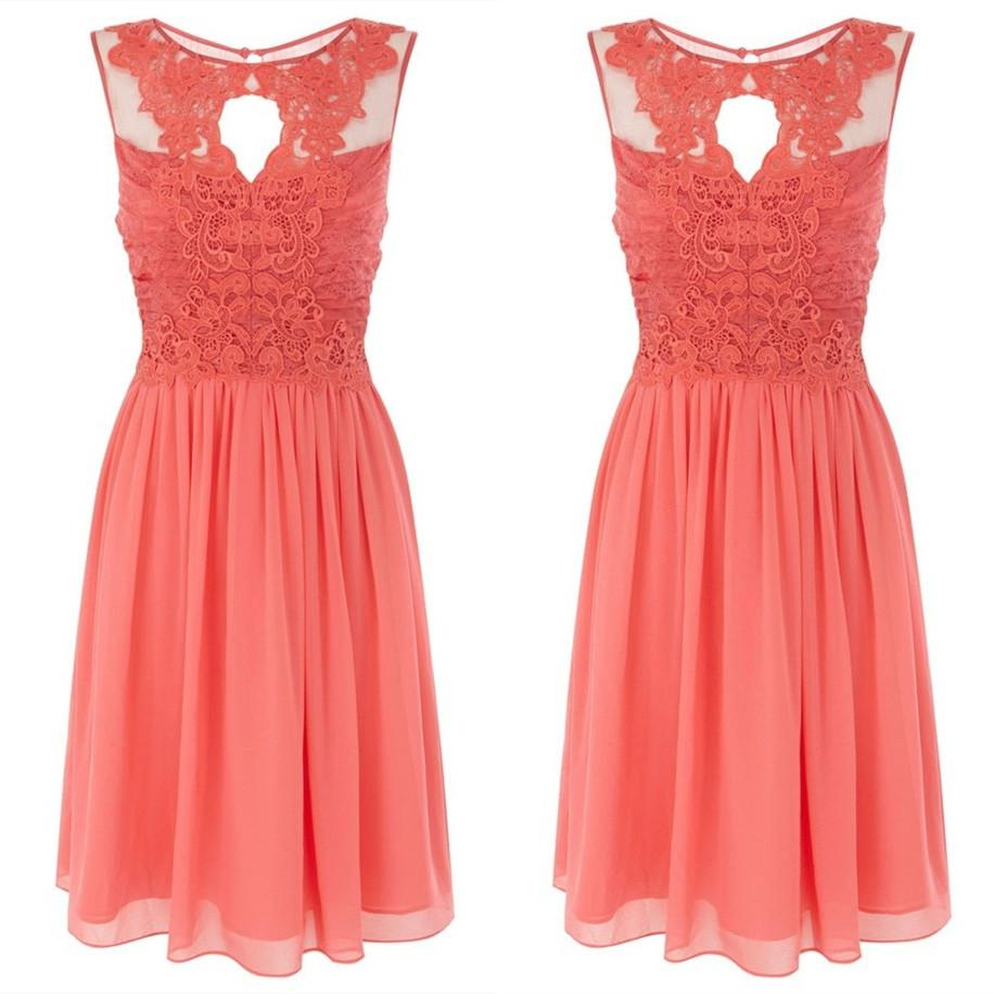 2015 summer beach wedding coral lace chiffon bridesmaid for Coral bridesmaid dresses for beach wedding