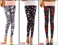 Wholesale New Fashion Printing skull women pants Sexy Women Leggings Patterned Tights Girl Graffiti Leggings Patterned A Variety of Styles Mix