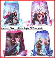 Backpacks Unisex 6T+ Fashion New Korean Baby Frozen Bags Anna Elsa peppa pig sofia Drawstring Backpack School Bags kids frozen shopping bags 120Pc lot