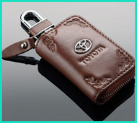 Wholesale Genuine Leather Toyota VW Hyundai Metal Logo Auto Car Key Wallet Holder Ring Bag Chain Free Shippnig with gift box packing