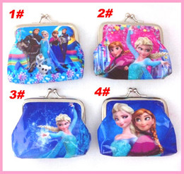 Wholesale 2014 new arrivel styles girls wallet frozen elsa anna printed cartoon children change pocket kids coin purse girl handbag