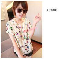 Women Women 1 High quality S-XXL Women Colorful style Chiffon blouse shirt lady fashion Batwing short sleeve Loose Blouse (20pcs lot