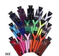 Wholesale 29 colors Unisex Clip on Adjustable Braces Elastic Y back Suspenders top quality factory price pet7510pcs