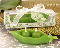 candle box - Wedding supplies Candle Favors Green Pea candle gift box with ribbon thank you card