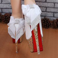Wholesale 2014 new fashion women s red bottom ultra high heels cm platform thin heels white wedding shoes women pumps