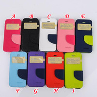 For Samsung Leather For Christmas Mercury Fancy diary Caller ID Open Window Wallet Leather Pouch For Samsung Galaxy S3 I9300 S4 I9500 S5 I9600 Note 3 N9000 TPU Soft skin case