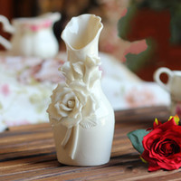 beautiful flower vases - Beautiful Rose flower White Ceramics Vases Artifical Flower Vase Ostrich Feather Vase for wedding party home decoration