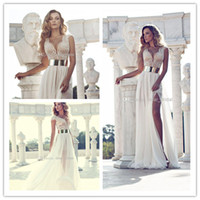 Wholesale Paolo Sebastian Wedding Dresses Beach Cap Sleeve Sexy V Neck Floor Length A line Chiffon Wedding Dresses Split Side Beading Gold Sash