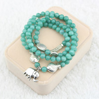 Beaded, Strands Asian & East Indian Women's The new natural stone Mashan jade bracelet with four laps mint green The elephant kiss fish four beads