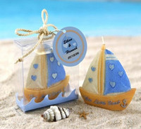Wholesale Romantic Sailboat Decoration candle Festival party atmosphere candle Creative smokeless candle wedding Favors supply With gift box