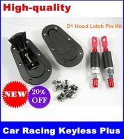 Wholesale Universal Car Racing Keyless Plus Flush Bonnet Hood Latch Pin Kit Press Lock black Plastic Auto no Key new drop shipping