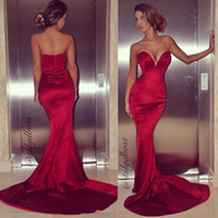 Reference Images V-Neck Elastic Satin Sexy Low Cut Sweetheart Sheath Dark Red Formfitting Shiny Satin Mermaid Prom Dresses Court Train 2014 New Fashion Tight Dress