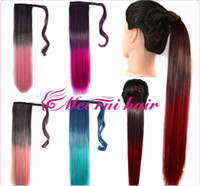 Wholesale Velcro gradient color gradient ponytail bundled with long straight hair ponytail ponytail spot color gradient