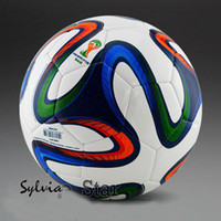 football 5 High-end machine stitched soccer ball Free shipping World Cup 2014 Brazil the Champions League the 5th regular football yellow soccer ball