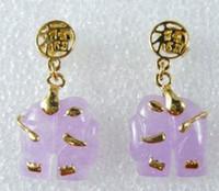 Stud earrings lovers' Natural Kanji Elephant Animal Purple JADE 18KGP Women Ear Stud Earring Jewelry