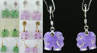 Dangle & Chandelier earrings lovers' 7 color-fancy green purple jade elephant dangle stud bless earrings