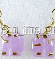 Cheap 18K Yellow Gold Plate Purple Jade Elephant Earring