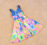 TuTu Summer A-Line Fashion Korean Baby Girls flower printed chiffon denim stitching vest dress Princess dress sling dress