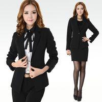 Women ladies skirt suits - 2016 New Fashion Female Business Suits Sets Coat Skirts pants Women Workwear Autumn Sets Ladies Work Dresses