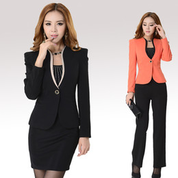 Wholesale 2015 New Female Business Suits Sets For Women Workwear Autumn Coat Skirts Sets Ladies Work Dresses