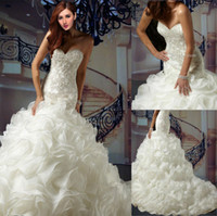 Reference Images cover wedding - 2014 New Super luxury Ruffles Organza Applique Beaded Mermaid Wedding Dresses Sweetheart Strapless Covered Button Wedding Dress Bridal Gowns