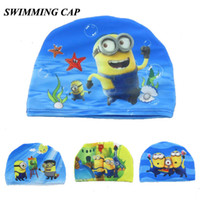 Wholesale Children Swimming Caps cartoon designs Despicable me swimming caps kids swim hat for summer boys cute fashion swimming products