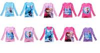 Wholesale Girls Cartoon Frozen T shirt Cute Anna Elsa Pattern Long Sleeve Tees Children Kids T Shirt Spring Autumn Clothing