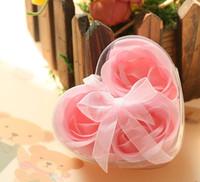 Wholesale boxes Bath Body Heart Rose Petal Wedding Gift Favor Colors Rose Flower Soap into box