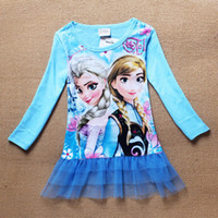 TuTu Winter Pleated Girls kids Cartoon Frozen T-shirt Cute Anna Elsa Pattern Long Sleeve Tees Children Kids T Shirt Spring Autumn Clothing