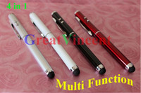 Wholesale Promotion Multi function in Laser Pointer Pen Capacitive Touch Pen Stylus Mini LED flashlight Ballpoint pen DHL Free