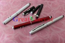 Wholesale Promotion new Multi function in Laser Pointer Pen Capacitive Touch Pen Stylus Mini LED flashlight Ballpoint pen DHL Free