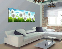 Abstract handpainted abstract 3 Panels Modern Living Room Abstract Painting Canvas Combinative Wall Hanging Picture Art dandelion, Free Shipping