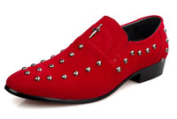 Loafers shoes - Best sell Korea red rivet buckles cusp shoes dress shoes men s casual shoes groom wedding shoes