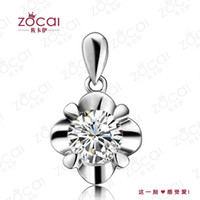 Beaded Necklaces Women's Party ZOCAI FLOWER 0.26 CT I-J VS DIAMOND Pendant Diamond 18K WHITE Gold PENDANTS + 925 STERLING SILVER CHAIN Necklace FREE SHPPING