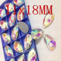 Wholesale 11x18MM Droplet teardrop Crystal AB color sew on Glass Crystal Rhinestones pear shape stones with holes