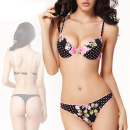 Wholesale Bras sets women bra set sexy bra brief set push up brassiere princess floral bras girl sweet lingerie underwear set thong