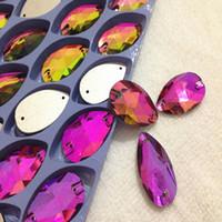 Wholesale 17x28MM Crystal RAINBOW COLOR Sew on Crystal Pear shape Flatback Rhinestone