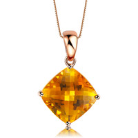 Beaded Necklaces Yes Citrine GVBORI 18K Rose Gold Natural Citrine Necklace Gemstone Pendant 925 Sterling Silver Chain Fine Jewelry Woman PartyChristmas Gift