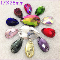 Fashion ab drops - All Colors x28mm Pear Drop Sew On Crystal Stones Teardrop Flat Back Holes Green Grass Aquamarine Lt Siam Pink Orange AB etc