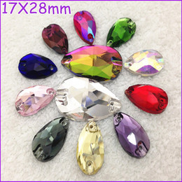 Wholesale All Colors x28mm Pear Drop Sew On Crystal Stones Teardrop Flat Back Holes Green Grass Aquamarine Lt Siam Pink Orange AB etc