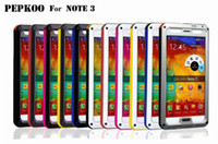 For Samsung Metal  20 pcs lot NEW PEPKOO Aluminum Metal Shock Water Dust Case Gorilla Glass For Samsung Note3 III GALAXY Note3 N9000 FREE SHIP