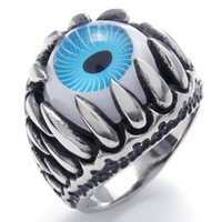 Wholesale Dragon Claw Charm Eye Ring Stainless Steel Jewelry Punk Biker Men Ring SWR0086B