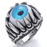Wholesale Dragon Claw Charm Eye Ring Stainless Steel Jewelry Punk Biker Men Ring SWR0086B